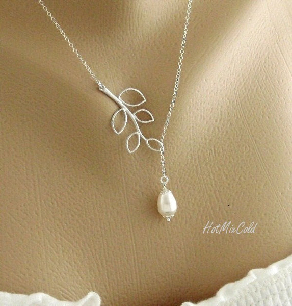 Silver Branch Lariat Teardrop Pearl Necklace