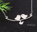 Silver Family Bird Necklace