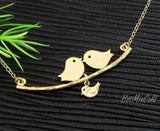 Gold Family Birds Necklace