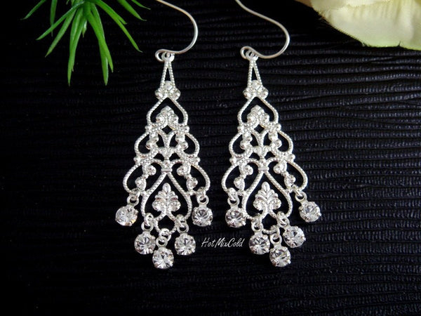 Rhinestone Filigree Chandelier Earrings