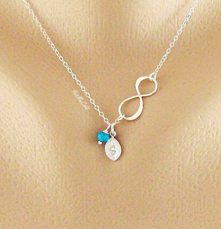Silver Infinity Birthstone Necklace