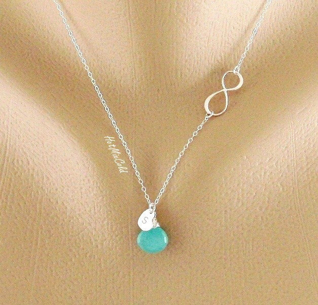 Silver Infinity Heart Birthstone Necklace