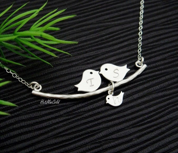 Silver Parent Birds Necklace