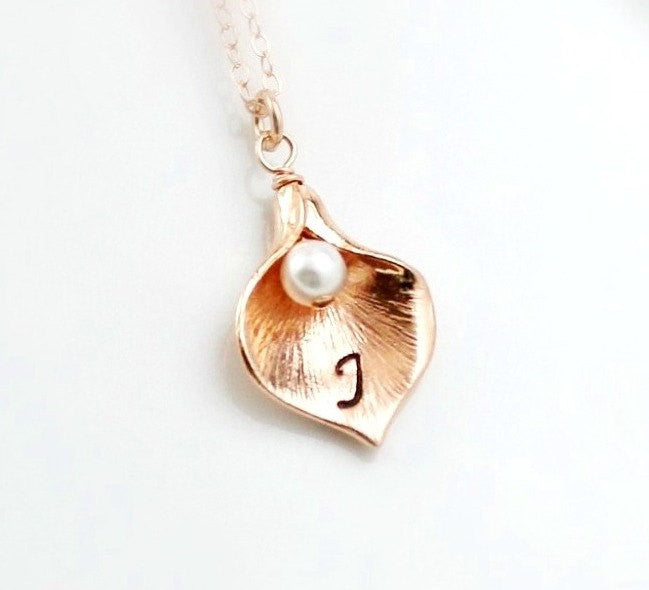 Rose Gold Calla Lily Necklace