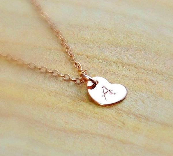Tiny Initial Heart Necklace