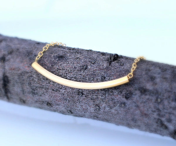 Gold Tube Curve Necklace