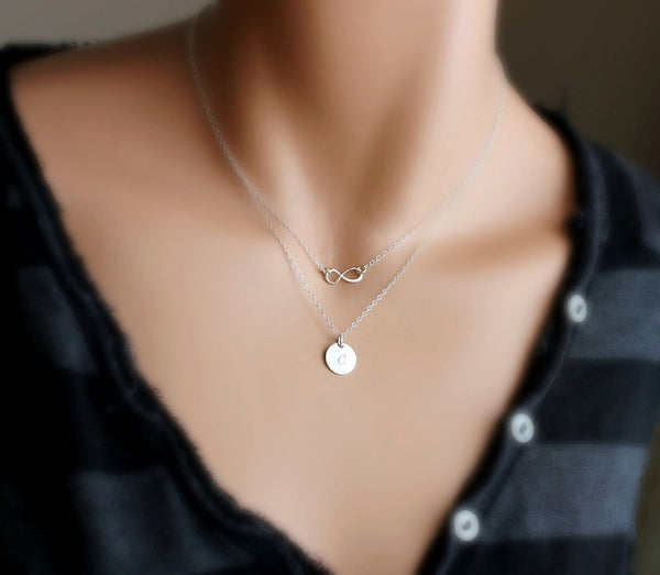 Silver Double Layer Infinity Disc Necklace