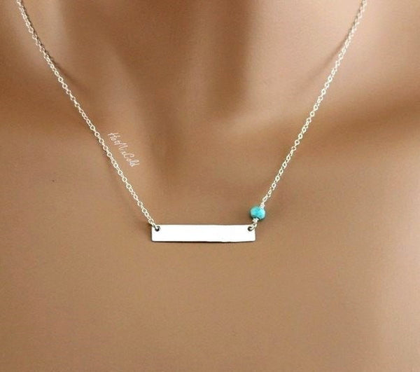 Silver Bar Birthstone Necklace