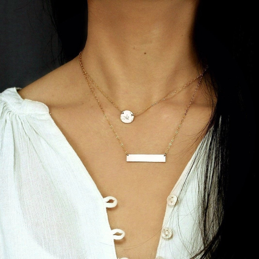 Double Layer Disc and Bar Necklace
