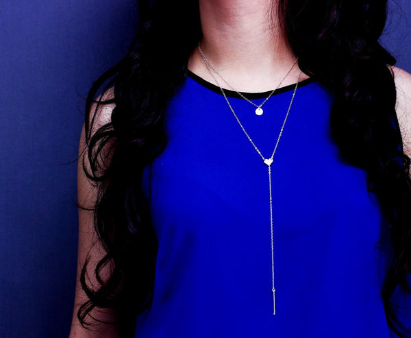 Circle and Heart Bar Lariat