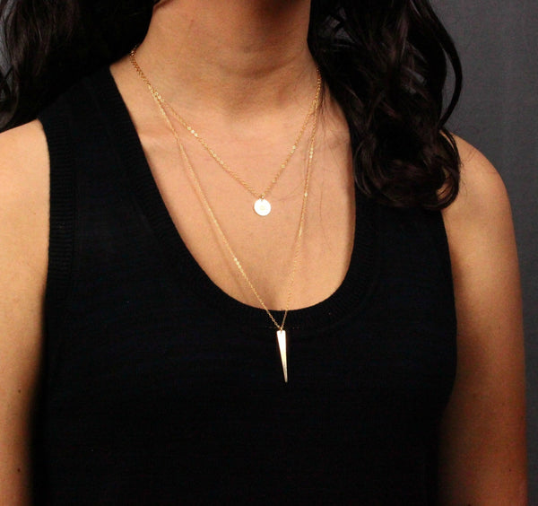 Gold Disc and Spike Layer Necklace