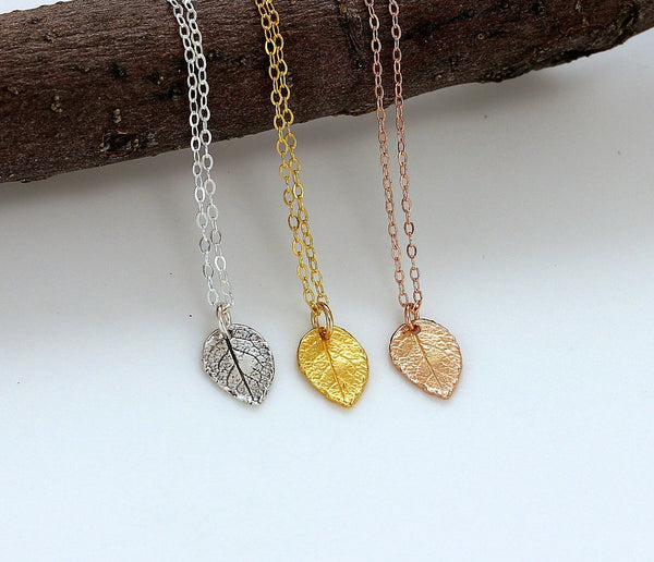 Tiny Leaf Necklaces