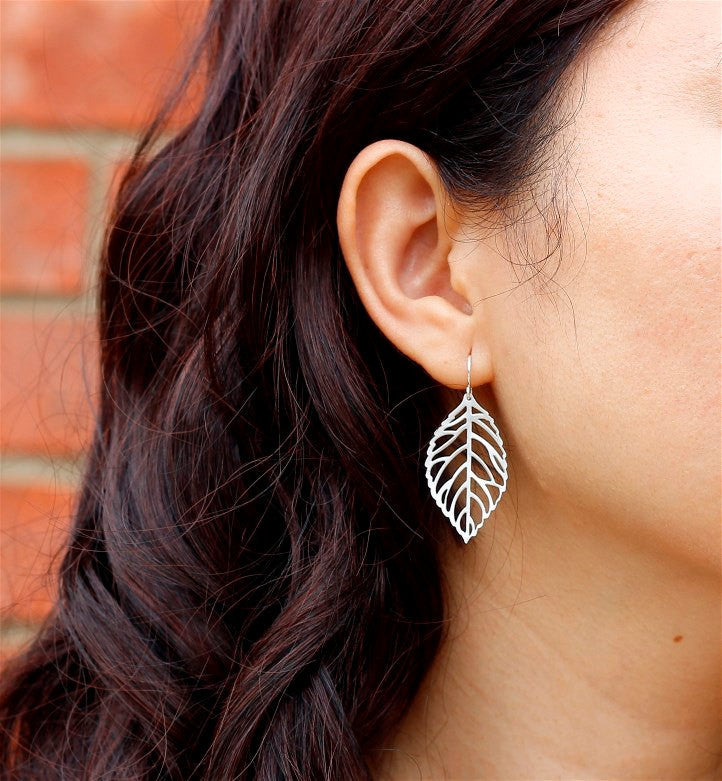 Silver Small Leaf Earrings