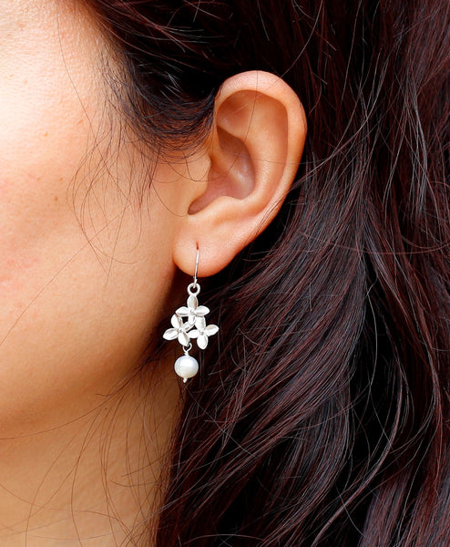 Silver Cherry Blossom Earring