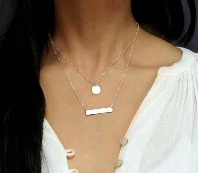 Sterling Silver Disc Bar Layer Necklace