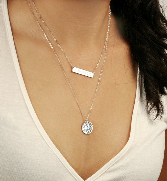 Layering Bar and Disc Necklace