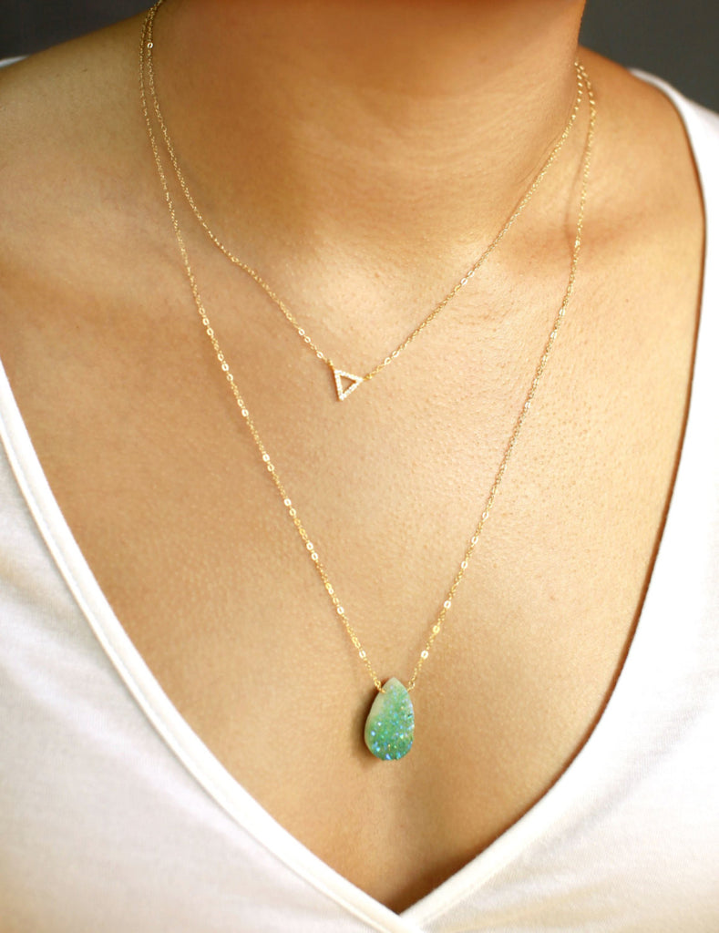 Gold Boho Druzy Necklace