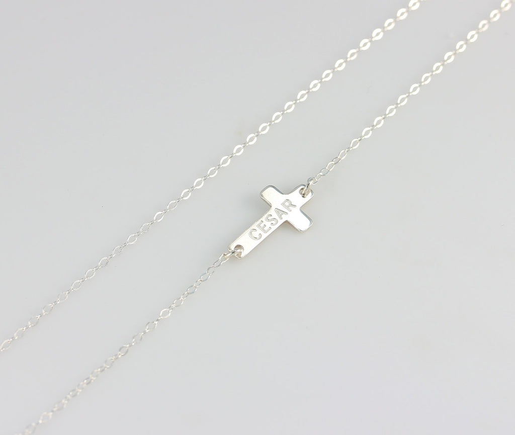 Silver Sideways Cross Engraved Necklace