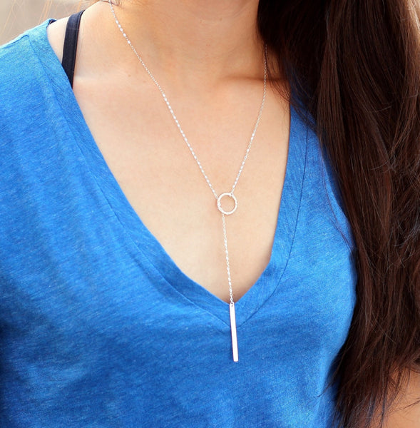 Silver Circle Lariat Necklace