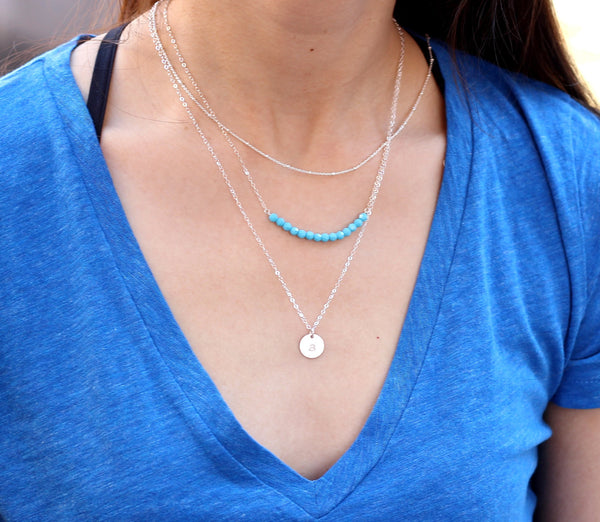 Three Layered Necklaces Set with Gemstone Bar and Large Disc