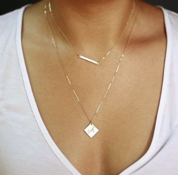 Double Layer Skinny Bar and Diamond Necklace
