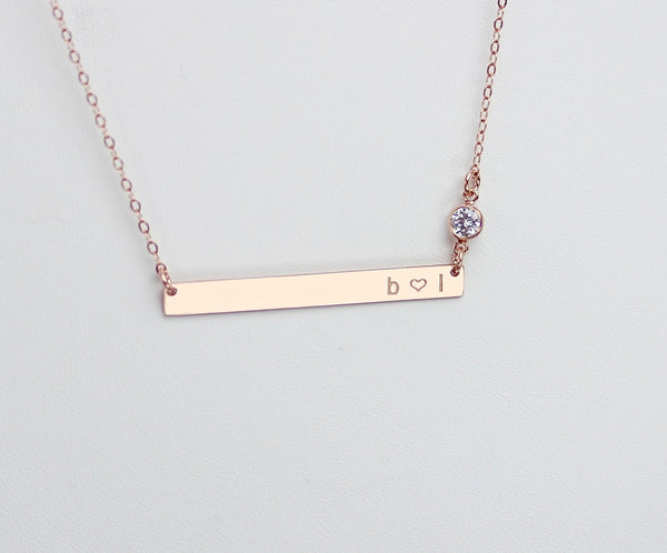 Minimalist Long Skinny Bar Necklace With Zirconia