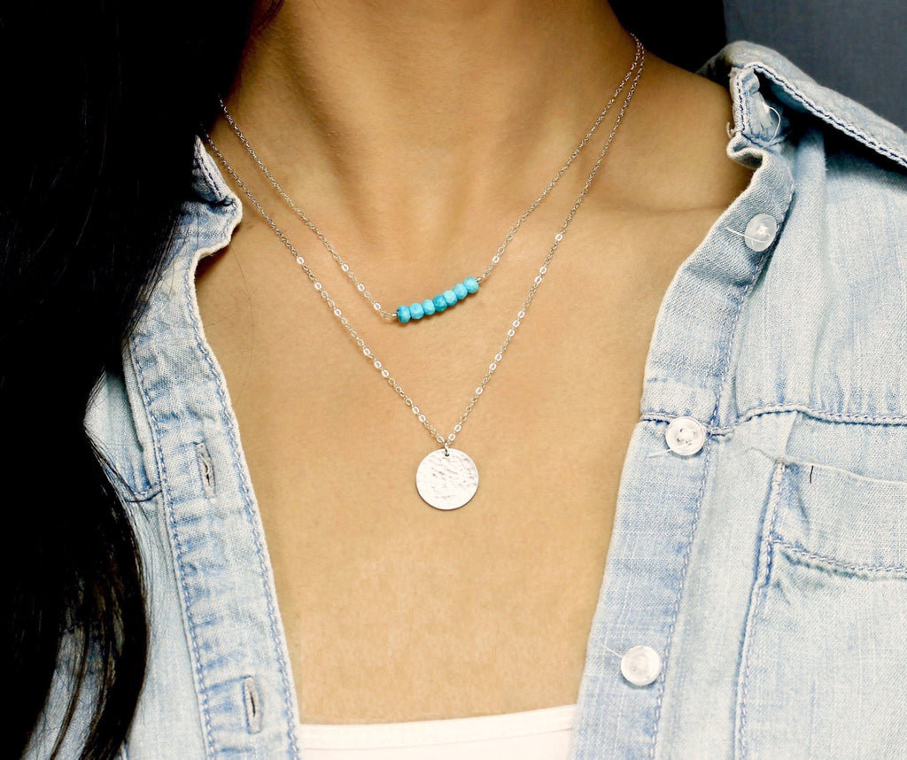 Layered Necklaces Set with Gemstone Bar and Large Disc