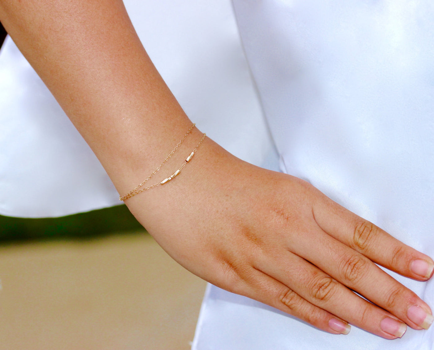Gold Tiny Tube Bracelet