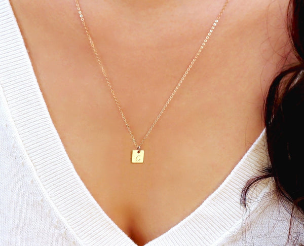 Tiny Gold Square Necklace