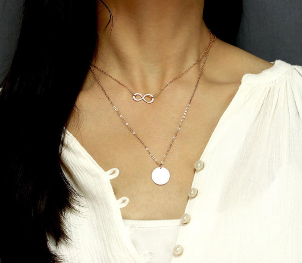 Rose Gold Infinity XL Disc Layering Necklace