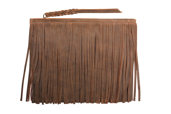 Fringe Zippered Clutch