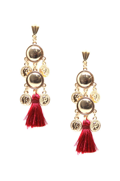 Battlefield Earrings in Burgundy and Gold