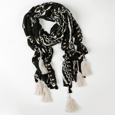 Black and White Scarf with White Tassles