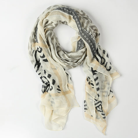 Cream and Black Scarf