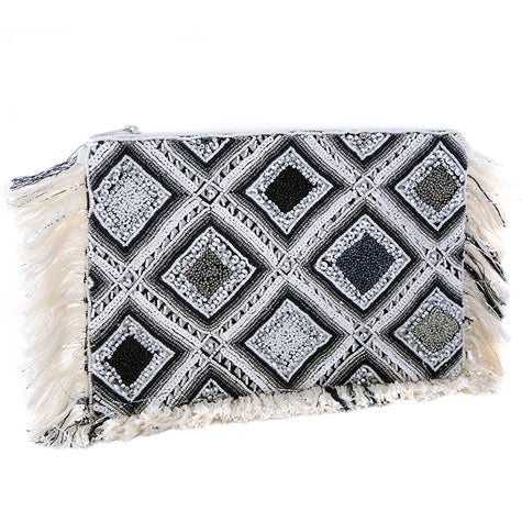 Blue & White Beaded Fringed Clutch