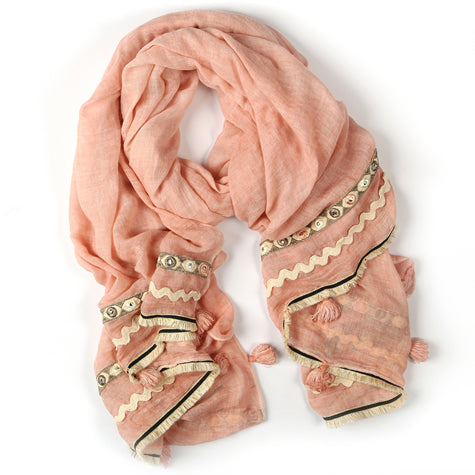 Blush & Cream Scarf with Tassles