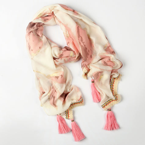 Cream and Blush Scarf with Pink Tassles
