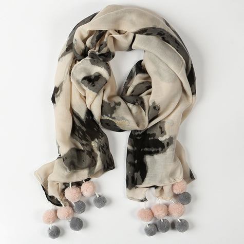 Cream, Black & Blush Scarf with Gold Accent Grey & Pink Pom Poms & Pearl Beads