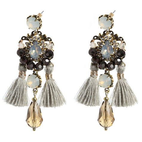 Bohemian Nights Tassled Jeweled Earrings