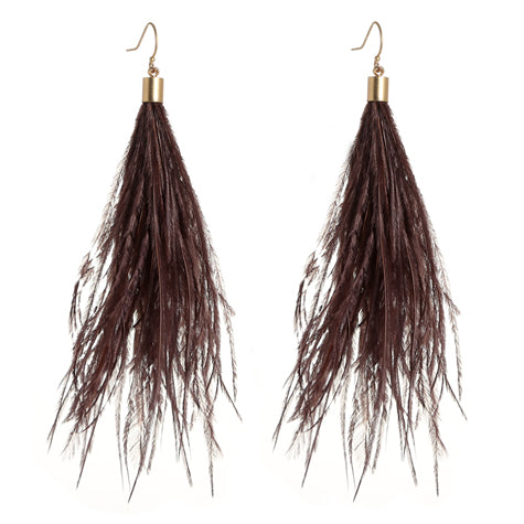 GALA Grey or Brown Ostrich Feather Earrings