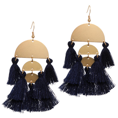Carnivale Navy Tassle and Gold Earrings
