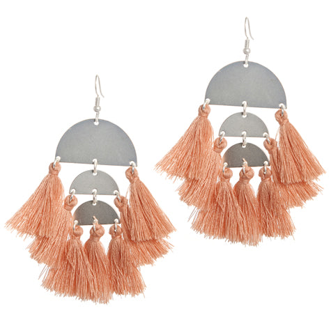 Carnivale Blush Tassle and Silver Earrings