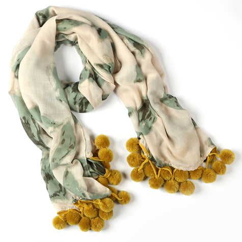 Green Scarf with Gold Accent and Large Pom Poms