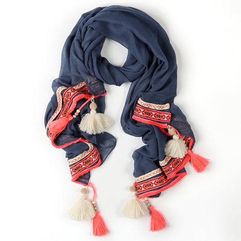 Navy, Coral and White Tassled Scarf