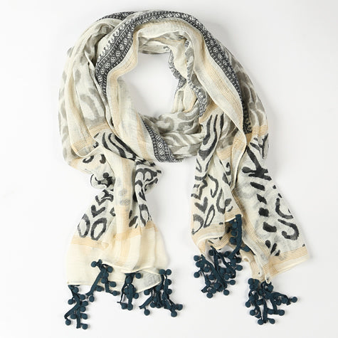 Navy and Cream Scarf with Tiny Pom Poms