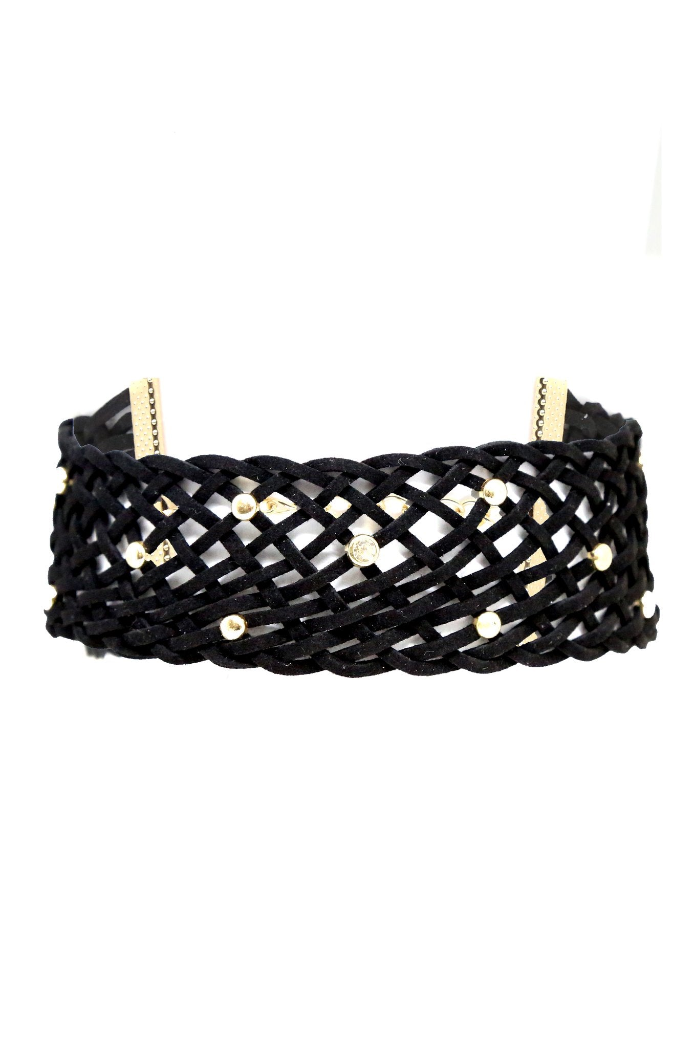 Netted Choker in Black and Gold