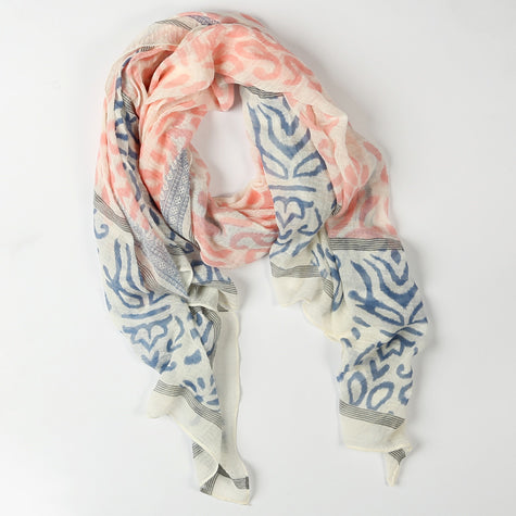 Cream Scarf with Coral and Blue Design