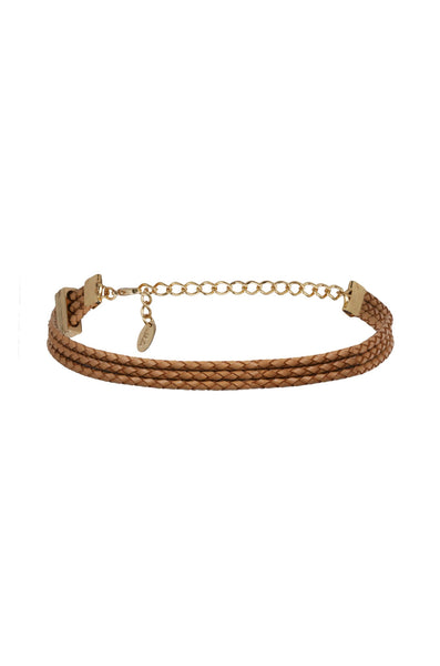 Riley Rope Choker in Tan and Gold