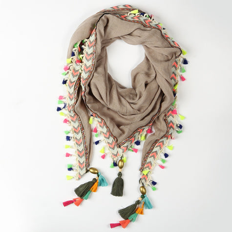 Taupe Scarf with Mini Neon Tassles