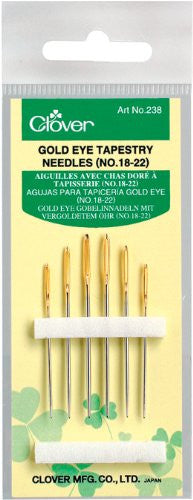 Clover Gold Eye Tapestry Needles Art No. 238 (No.18,20,22,24)